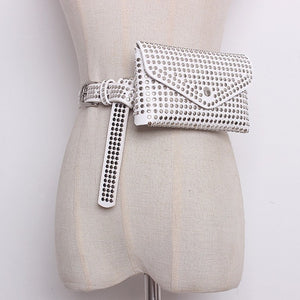 Pu Leather Belt With Bag Removable Rivet Handbag Fanny Pack