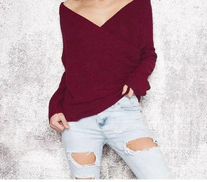 Off Shoulder V Neck Sweater Long Sleeve