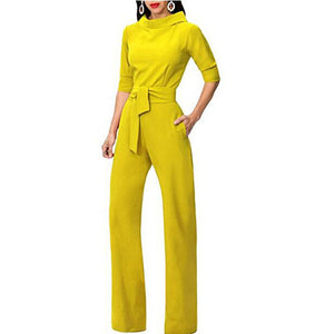 High Waist Jumpsuit Wide Leg Office