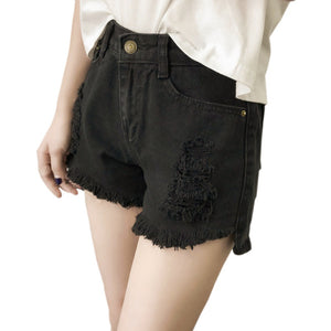 Distressed High Waist Denim Jean Shorts