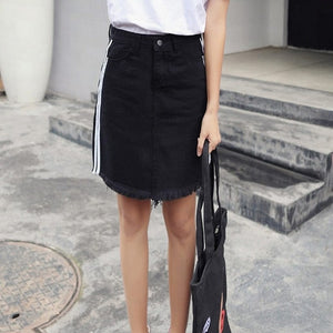 Jean Denim Mini Skirt Side Stripe Zipper High Waist Black White