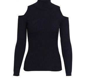 Turtleneck Open Shoulder Pullover Sweater