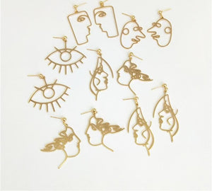 Personality Three-dimensional Eye Face Mask Alloy Drop Earring