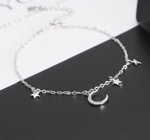 925 Sterling Silver Moon Star Bracelet