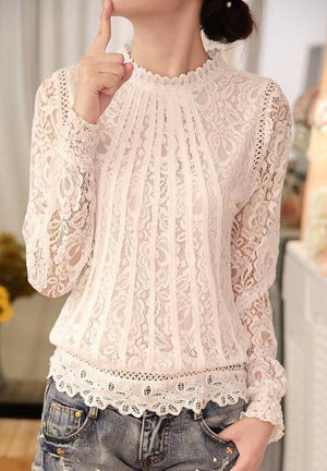 Lace Scalloped Edge Blouse Long Sleeve Top