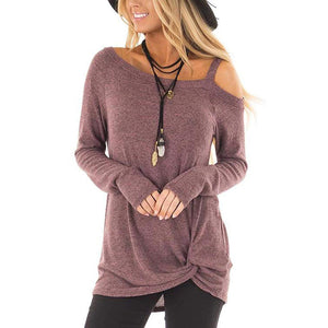 Long Sleeve Open Shoulder Strap Twist Knot Front T Shirt