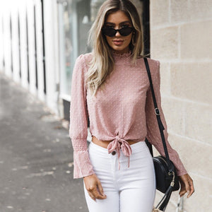 Tie Front Crop Blouse Long Sleeve