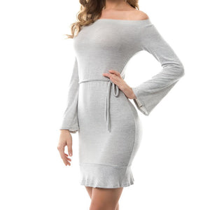 Off Shoulder Long Sleeve Tie Ruffled Sweater Dress Gray
