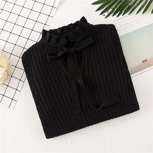 Ruffle Collar Tie Sweater Knit  Long Sleeve