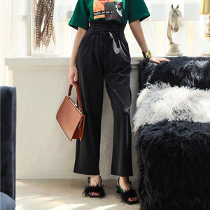 High Waisted Bandage Wide Leg Pants Trousers