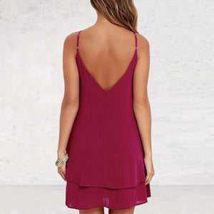 Backless Chiffon Dress Sexy Spaghetti Strap Mini Loose