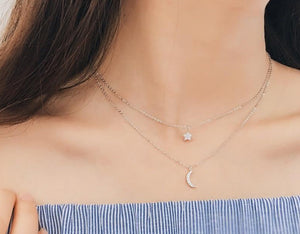 sterling silver long star moon choker necklace