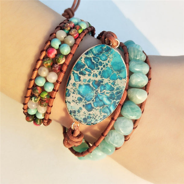 Leather Wrap Stone Beaded Bracelet Boho