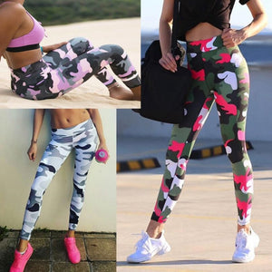 High Waist Camo Print Leggings Gym Fitness