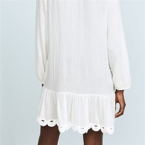 V Neck Long Sleeve Scalloped Edge White Beach Cover