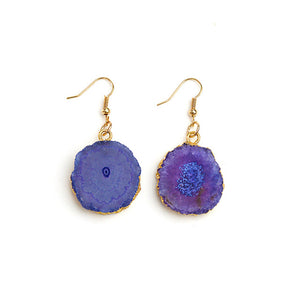 Natural Druzy Stone Fish Hook Earrings