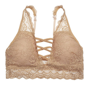 Lace Bralette Wireless  3/4 Cup Floral Bra