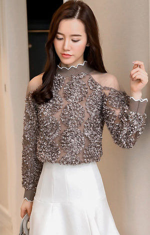 High Neck Lace Detail Blouse