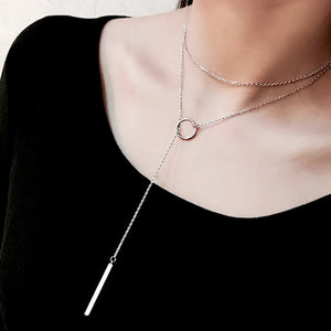Circle Drop Through Sterling Silver Necklace