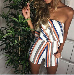 Summer Strapless Romper Shorts