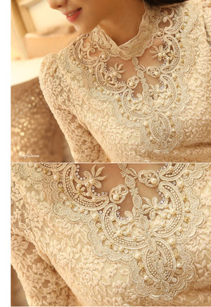 Long Sleeve Lace Blouse Pearl