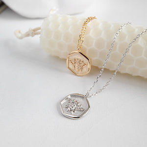 Sterling Silver Rose Gold Color Hexagon Small Bee Necklace Pendant