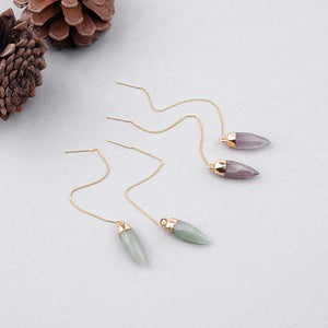 Drop Earrings  Natural Stone Link Chain