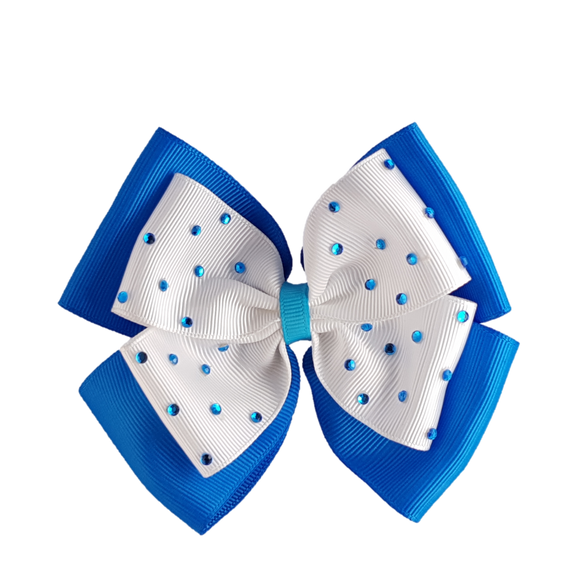 2nos Shiny Handmade Hair Clip Ribbon with crystals, Blue color, DIY by TopKidz