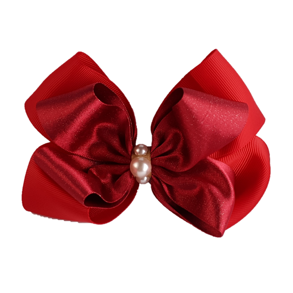 2nos Nice-looking Handmade Hair Clip Ribbons with Pearls, Red color, DIY by TopKidz