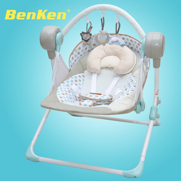 Cradle electric baby swing music rocking chair automatic sleeping basket golden frame