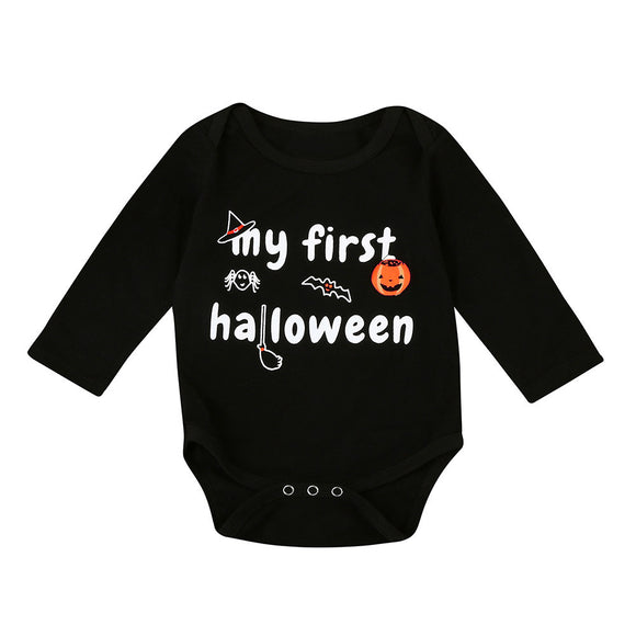 Halloween Pumpkin Printed Baby Clothes Newborn Infant Boy Girl Long Sleeve Romper Jumpsuit