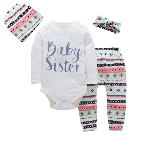 Autumn Long Sleeve Letter Print Romper Tops + Pant, Hat, Headband Outfit (4pcs)