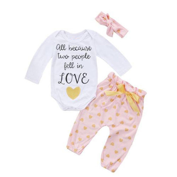 Newborn Baby Girls Clothes Long Sleeve Letter & Heart Pant Legging Headband 3PCS Kids Clothing