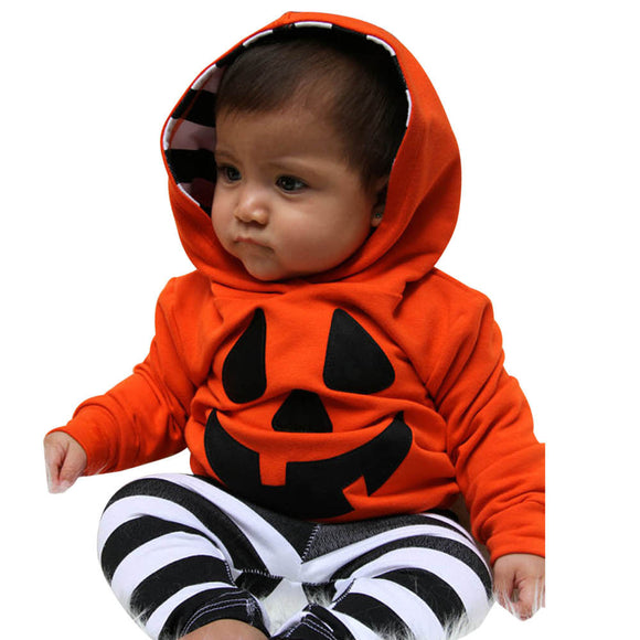 Pumpkin Hooded Blouse + Stripe Pants Halloween Outfits Set