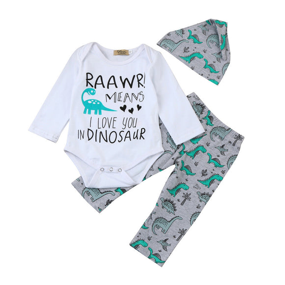 Raawr mean I love you in dinosaur Letter Print Romper Tops+Dinosaur Pants Outfits Set