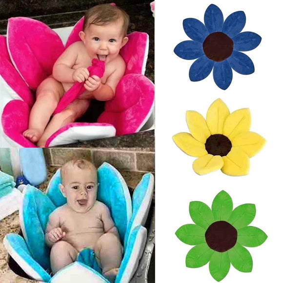 Newborn Baby Bathtub Foldable Blooming Bath, Sunflower Cushion mat