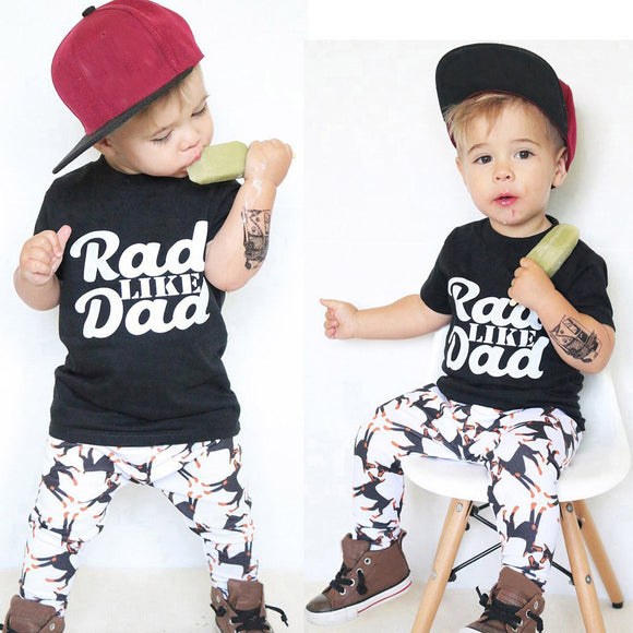 Boy Print Tops Shirt Pants Outfit Set Clothes