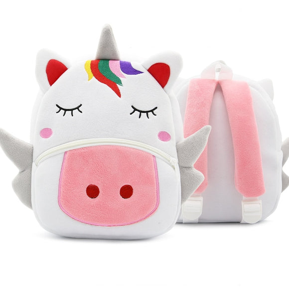 School Backpack Cartoon Rainbow Unicorn Design Soft Plush Material For Toddler Baby Girls
