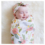 Baby Swaddle Blanket Baby Sleeping Swaddle Muslin Wrap Headband