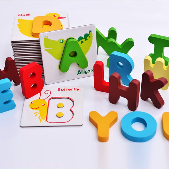 Baby Educational Cards English Learning Games Letter Flash Cards For Children Wooden