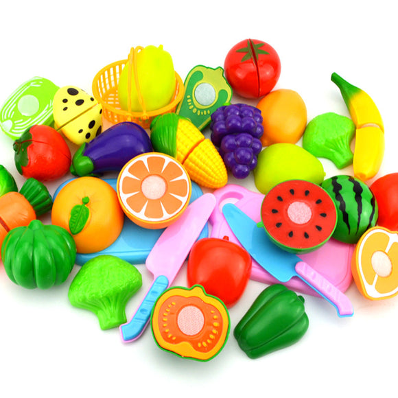 8PC DIY Pretend Play Baby Kitchen Plastic Food Toy Set Cooking Cutting Fruit