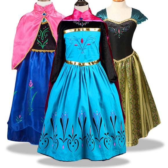 Baby Girls Dress Anna Elsa Cosplay Costume Dresses for Birthday Party Vestidos Menina