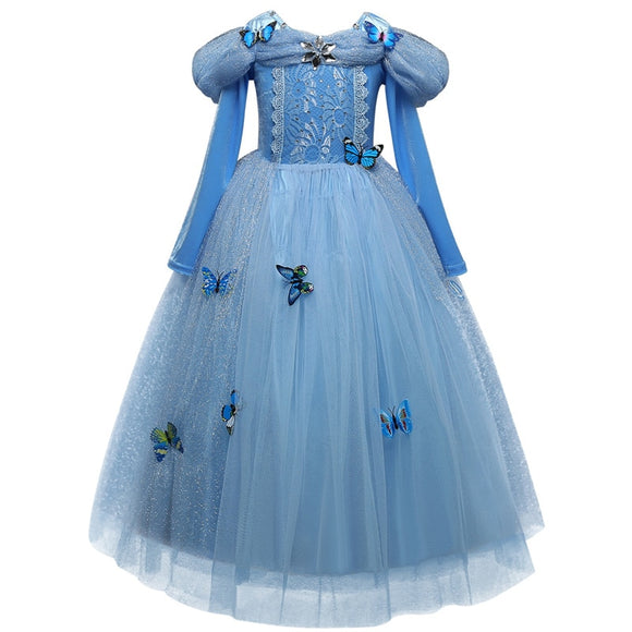 Cinderella Elsa Dress Costumes For Kids Cosplay Princess Anna Children Party Dresses Fantasia 10 Yr
