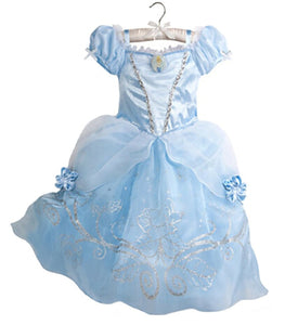 Summer Dress Kids Cinderella Snow White Cosplay Costume Rapunzel Aurora Belle Dress