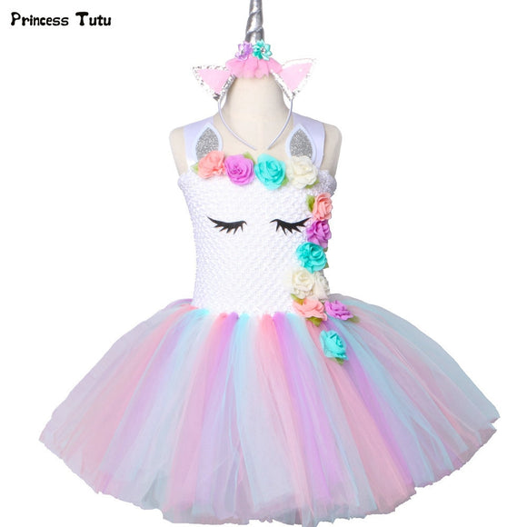Unicorn Dress Pastel Rainbow Birthday Party Dress Children Kids Halloween Unicorn Costume 1-14Y
