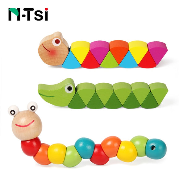 Colorful Wooden Worm Puzzles Kids Learning Educational Didactic Baby Development Toys