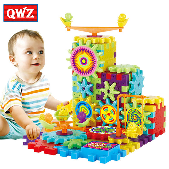 QWZ 81 Pieces Electric Gears 3D Puzzle Building Kits Plastic Bricks Educational Toys