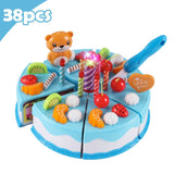 37-80Pcs DIY Pretend Play Fruit Cutting Birthday Cake Kitchen Food Toys