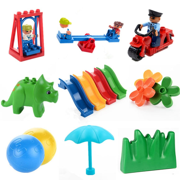 Big Size Diy Building Blocks Swing Dinosaurs Figures Animal Accessories Toys