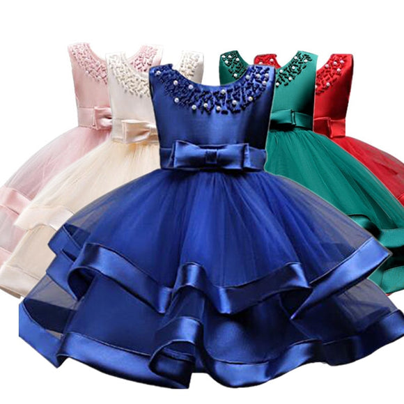 Flower Cake Elegant hand beading Girls Dresses for Children Princess Party Costumes 2-10 Years